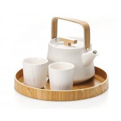 Service à thé Blanc et Bois