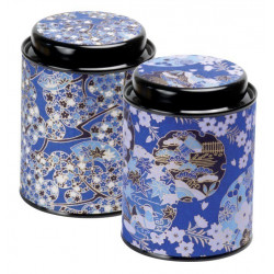 Boîte Japonaise Cylindrique Bleue