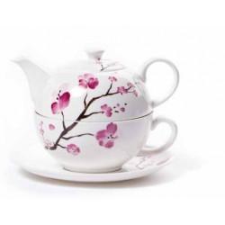 Théière Solitaire  Fleurs de Cerisier en porcelaine